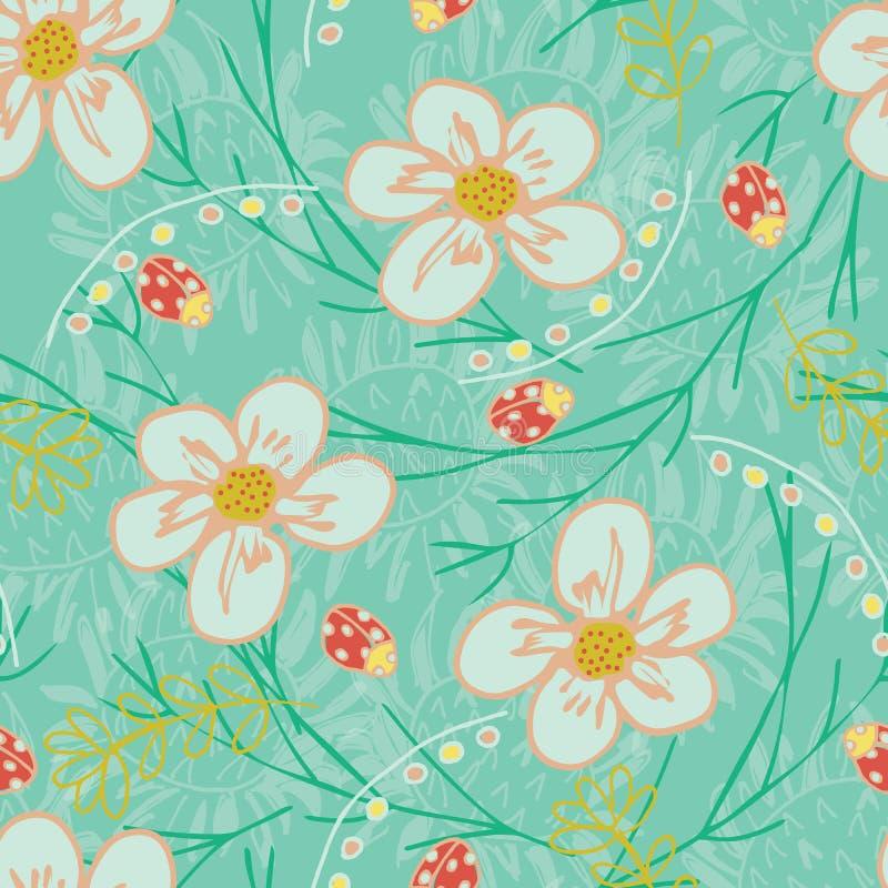 Το καθιερώνον τη μόδα άνευ ραφής διάνυσμα επαναλαμβάνει το floral σχέδιο κήπων με τα λουλούδια και τα φύλλα σε πράσινο, ροδάκινο, διανυσματική απεικόνιση