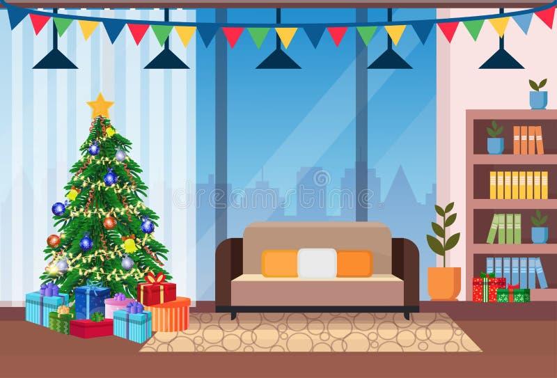 Το καθιστικό διακόσμησε επίπεδο έννοιας χειμερινών διακοπών εγχώριων το εσωτερικό διακοσμήσεων δέντρων πεύκων καλής χρονιάς Χαρού απεικόνιση αποθεμάτων