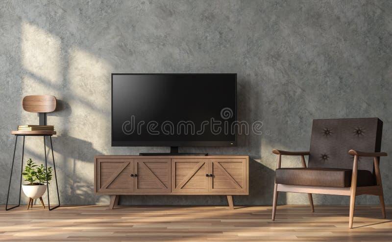 Το καθιστικό ύφους σοφιτών με την κενή οθόνη TV τρισδιάστατη δίνει ελεύθερη απεικόνιση δικαιώματος