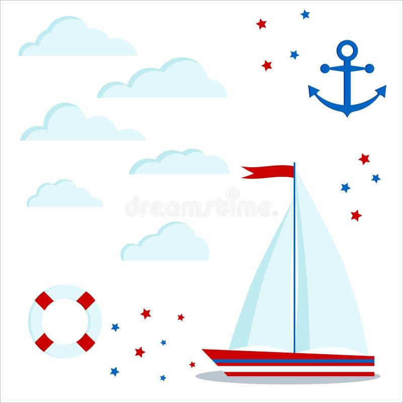 Το καθορισμένο εικονίδιο μπλε και κόκκινο sailboat με δύο πλέει και σημαιοστολίζει, σύννεφα, αστέρια, άγκυρα, lifebuoy ελεύθερη απεικόνιση δικαιώματος