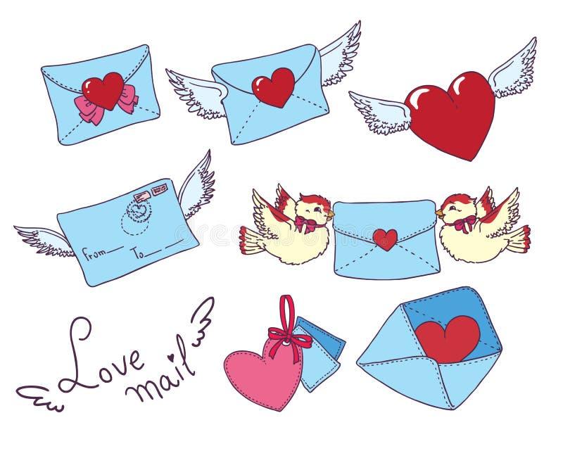 Το καθορισμένο διανυσματικό ηλεκτρονικό ταχυδρομείο, τυλίγει τα εικονίδια με την καρδιά ελεύθερη απεικόνιση δικαιώματος