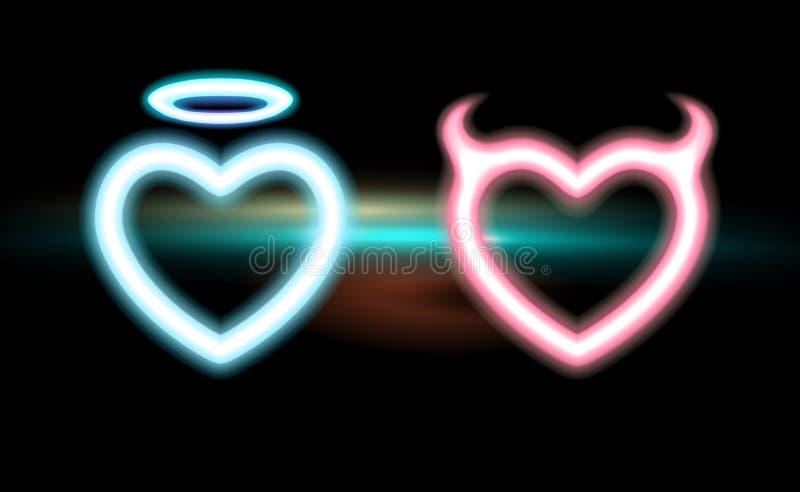 Το καθορισμένο μπλε νέου καρδιών, οδοντώνει τον ακτινοβόλο κερασφόρο διάβολο, άγγελος φωτοστεφάνου πυράκτωσης για τους βαλεντίνου διανυσματική απεικόνιση