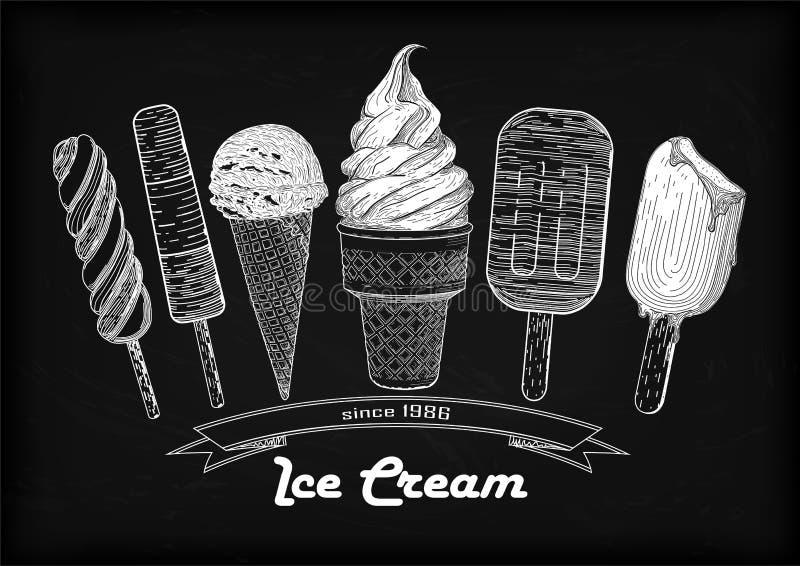 Το καθορισμένο παγωτό μαλακό εξυπηρετεί τη σέσουλα, φλυτζάνι βαφλών, νόστιμος κώνος παγωτού ελεύθερη απεικόνιση δικαιώματος
