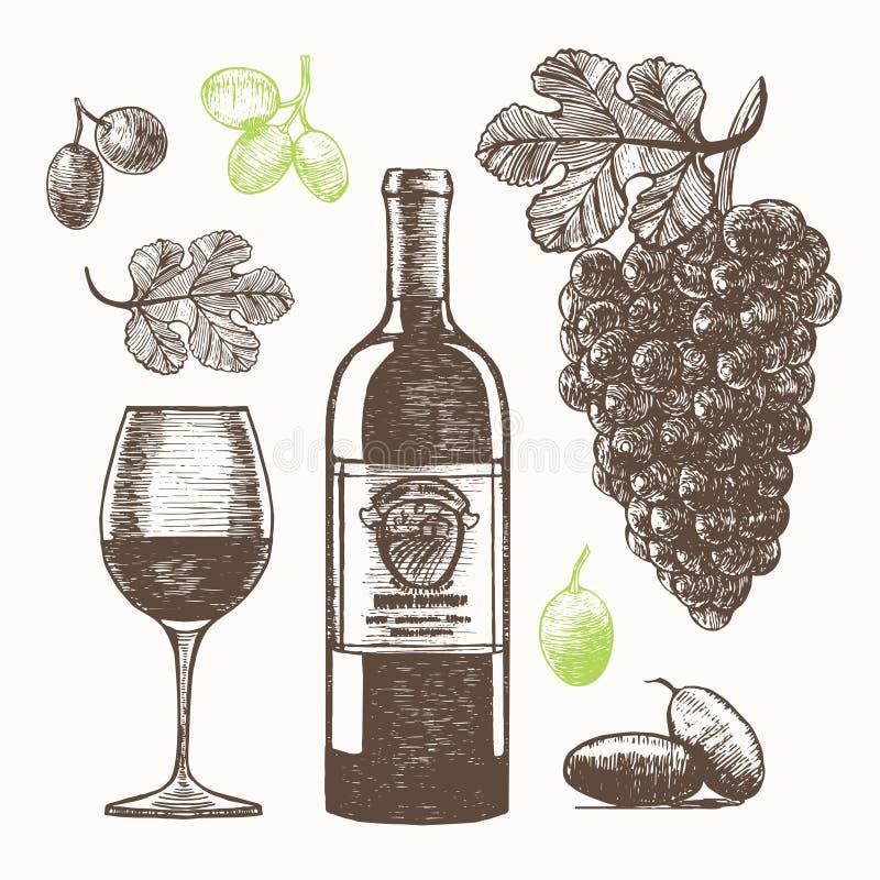 Το καθορισμένο χέρι κρασιού σύρει το σκίτσο διάνυσμα απεικόνιση αποθεμάτων