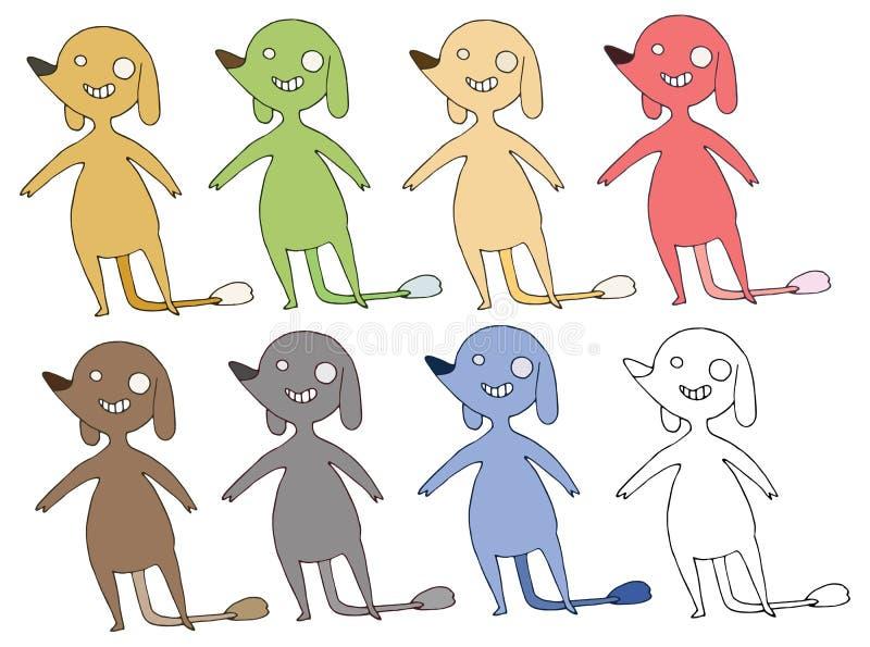 Το καθορισμένο χέρι χρώματος τεράτων σκυλιών κινούμενων σχεδίων τυπωμένων υλών doodle σύρει ευτυχή ελεύθερη απεικόνιση δικαιώματος