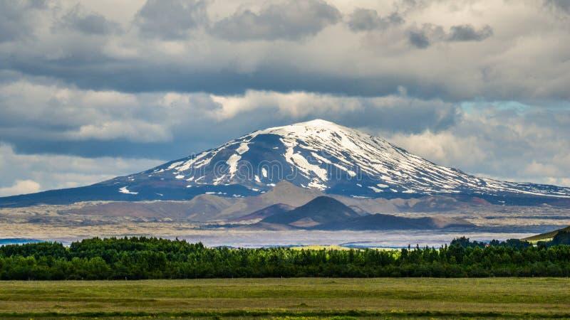 Το κακόφημο ηφαίστειο Hekla, νότια Ισλανδία στοκ εικόνα