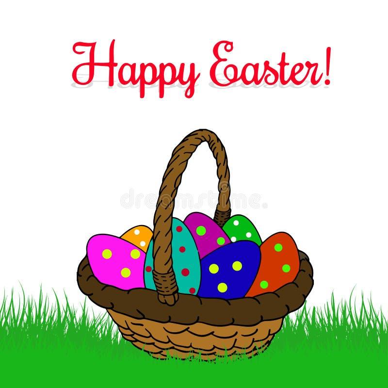 Το καλάθι με Πάσχα χρωμάτισε τα αυγά στα μπιζέλια, στην πράσινη χλόη, κινούμενα σχέδια διανυσματική απεικόνιση