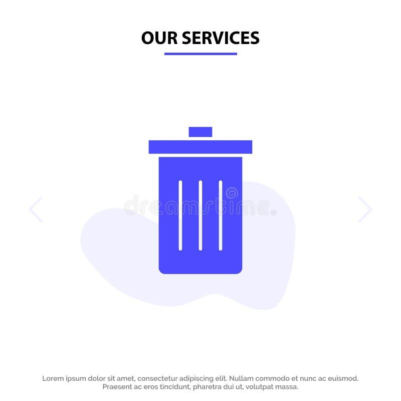 Το καλάθι υπηρεσιών μας, όντας, διαγράφει, απορρίματα, στερεό πρότυπο καρτών Ιστού εικονιδίων Glyph απορριμμάτων ελεύθερη απεικόνιση δικαιώματος