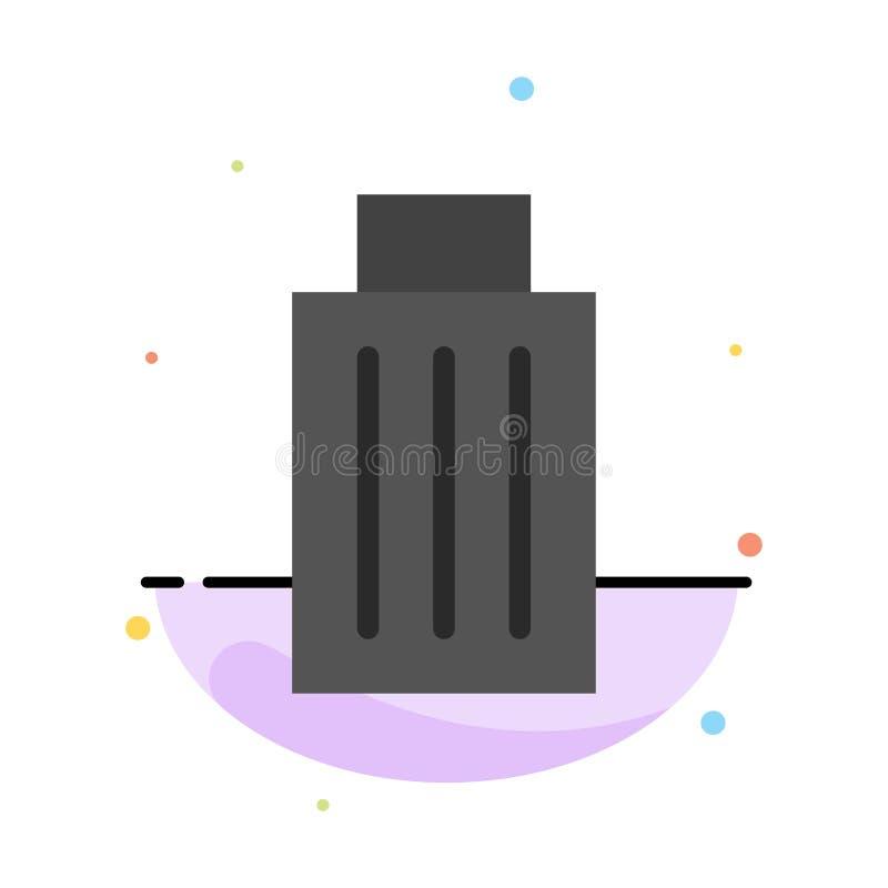 Το καλάθι, όντας, διαγράφει, απορρίματα, αφηρημένο επίπεδο πρότυπο εικονιδίων χρώματος απορριμμάτων απεικόνιση αποθεμάτων