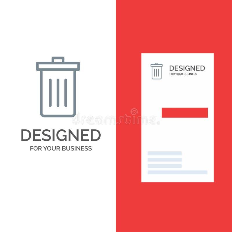 Το καλάθι, όντας, διαγράφει, απορρίματα, γκρίζο σχέδιο λογότυπων απορριμμάτων και πρότυπο επαγγελματικών καρτών απεικόνιση αποθεμάτων