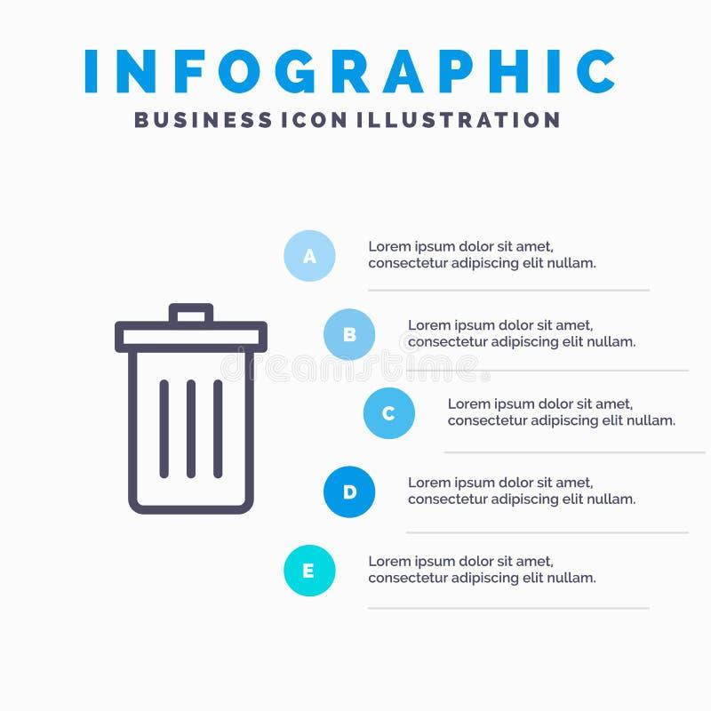 Το καλάθι, όντας, διαγράφει, απορρίματα, εικονίδιο γραμμών απορριμμάτων με το υπόβαθρο infographics παρουσίασης 5 βημάτων διανυσματική απεικόνιση