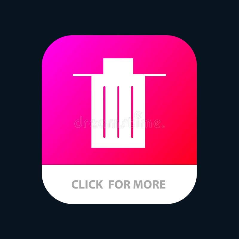 Το καλάθι, όντας, διαγράφει, απορρίματα, κινητό App απορριμμάτων κουμπί Αρρενωπή και IOS Glyph έκδοση απεικόνιση αποθεμάτων