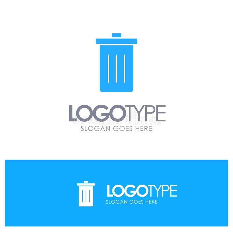 Το καλάθι, όντας, διαγράφει, απορρίματα, μπλε στερεό λογότυπο απορριμμάτων με τη θέση για το tagline ελεύθερη απεικόνιση δικαιώματος