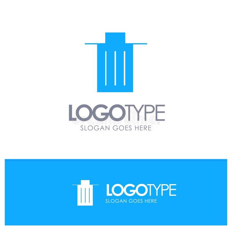 Το καλάθι, όντας, διαγράφει, απορρίματα, μπλε στερεό λογότυπο απορριμμάτων με τη θέση για το tagline διανυσματική απεικόνιση