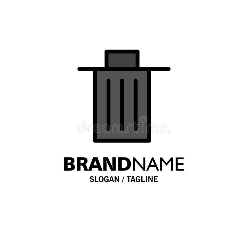 Το καλάθι, όντας, διαγράφει, απορρίματα, πρότυπο επιχειρησιακών λογότυπων απορριμμάτων Επίπεδο χρώμα απεικόνιση αποθεμάτων