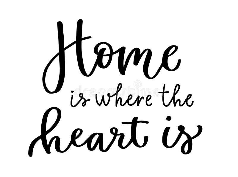 Το καλλιγραφικό σπίτι επιγραφής είναι όπου η καρδιά είναι πού η καρδιά είναι Εγγραφή στο Μαύρο απεικόνιση αποθεμάτων