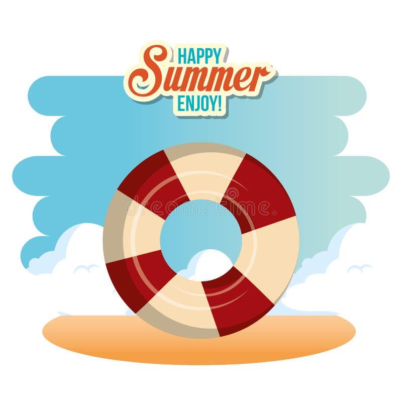 Το καλοκαίρι απολαμβάνει με το επιπλέον σώμα διανυσματική απεικόνιση