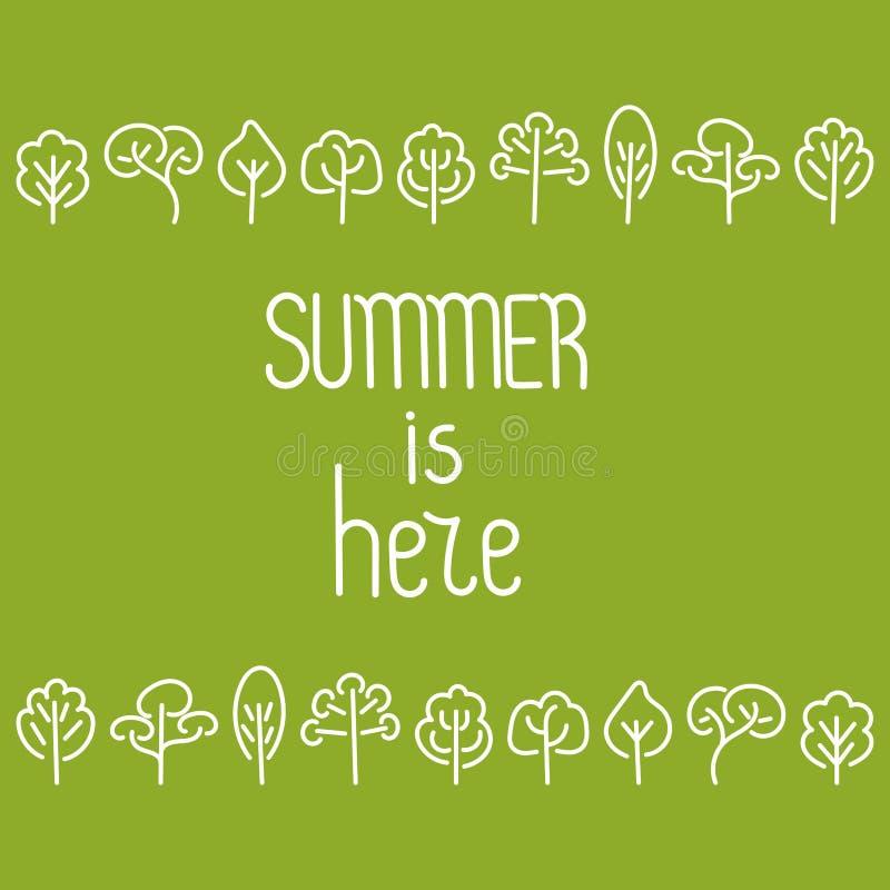 Το καλοκαίρι είναι εδώ Δέντρα σχεδίων χεριών Doodle r ελεύθερη απεικόνιση δικαιώματος