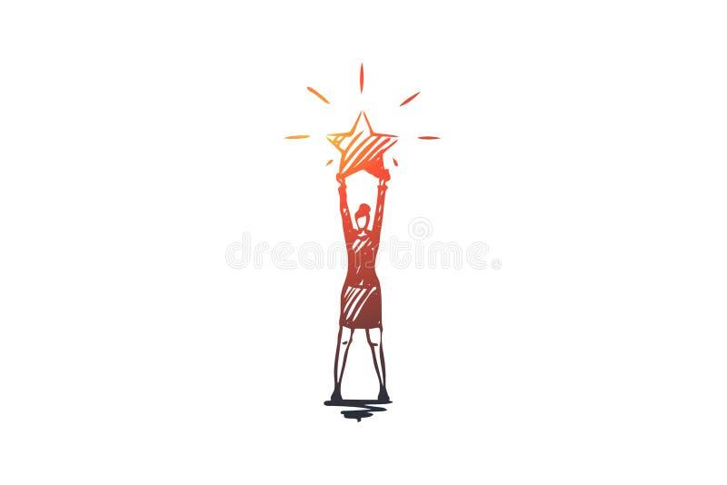 Το καλύτερο, εκτίμηση, επαγγελματική διανυσματική έννοια Συρμένη χέρι απομονωμένη σκίτσο απεικόνιση διανυσματική απεικόνιση