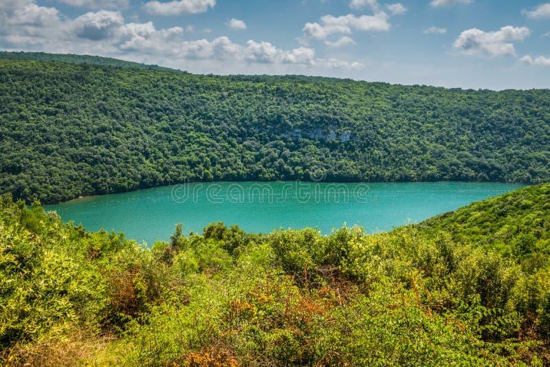 Το κανάλι Limski κάλεσε επίσης το φιορδ Limski σε Istria κοντά σε Rovinj Αδριατική θάλασσα, Κροατία στοκ εικόνα