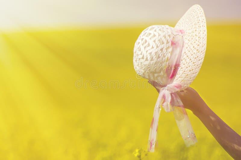 Το καπέλο σε ένα θηλυκό παραδίδει το καλοκαίρι στα πλαίσια ενός τομέα του βιασμού στοκ εικόνες με δικαίωμα ελεύθερης χρήσης