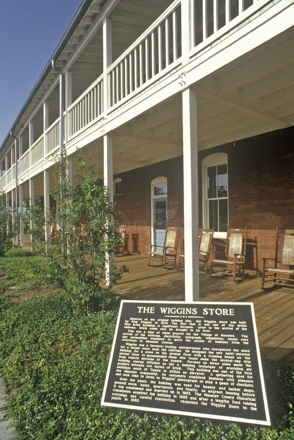 Το κατάστημα Wiggins στο του χωριού ιστορικό πάρκο Manatee, Bradenton, Φλώριδα στοκ φωτογραφία με δικαίωμα ελεύθερης χρήσης