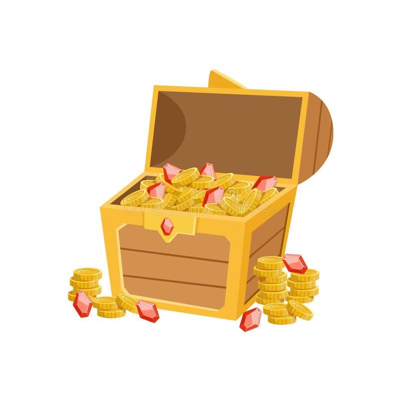 Το κατά το ήμισυ ανοικτό στήθος πειρατών με τα χρυσά νομίσματα και τα ρουμπίνια, ο κρυμμένοι θησαυρός και οι πλούτοι για την αντα διανυσματική απεικόνιση