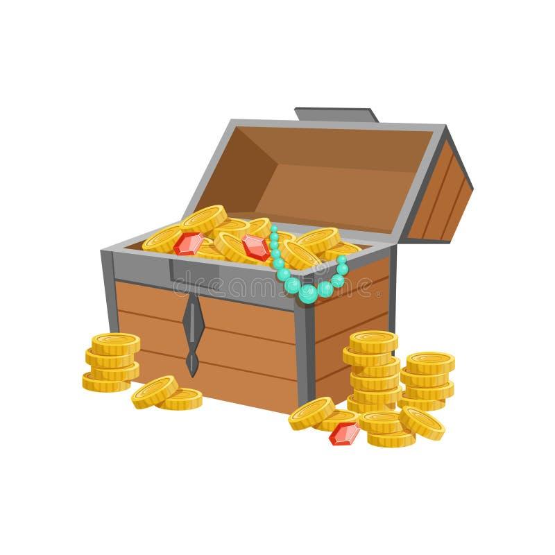 Το κατά το ήμισυ ανοικτό στήθος πειρατών με τα χρυσά νομίσματα και το κόσμημα, ο κρυμμένοι θησαυρός και οι πλούτοι για την ανταμο ελεύθερη απεικόνιση δικαιώματος