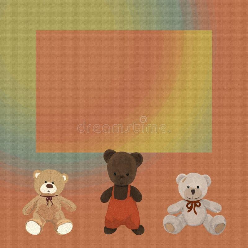 Το κατασκευασμένο υπόβαθρο Ð ¼ ишка Ñ  шcolorful με τρία teddy είναι απεικόνιση αποθεμάτων