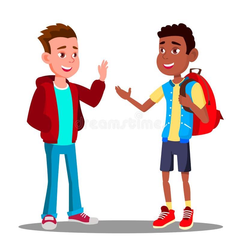 Το καυκάσιο αγόρι και το μαύρο αγόρι χαιρετούν μεταξύ τους, διάνυσμα φιλίας πολυφυλετικός Ευρωπαϊκά και Afro Αμερικανός απεικόνισ ελεύθερη απεικόνιση δικαιώματος