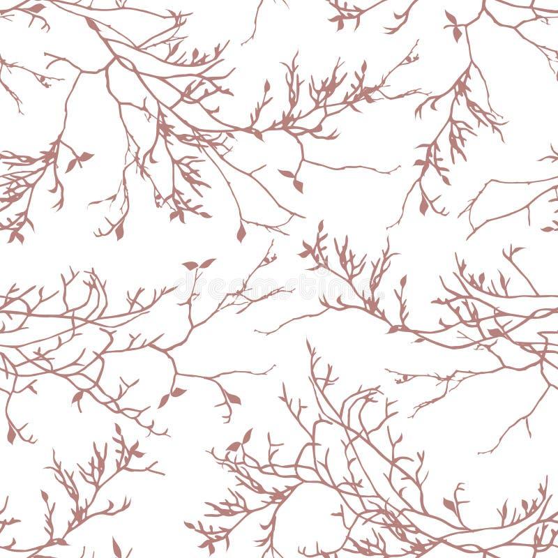 Το καφετί δέντρο διακλαδίζεται άνευ ραφής διανυσματικό σχέδιο απεικόνιση αποθεμάτων