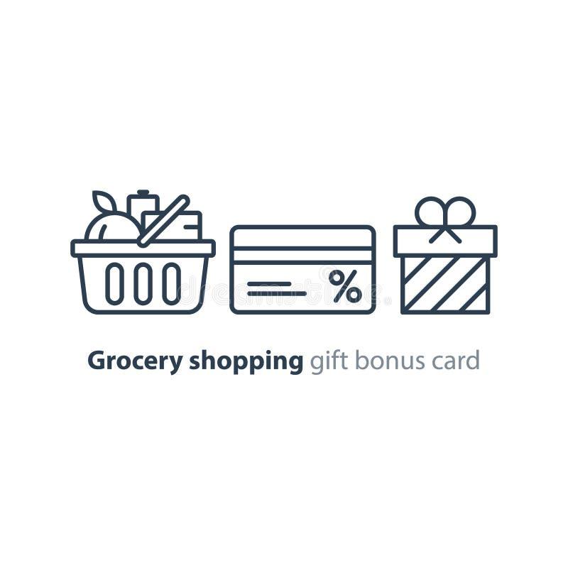 Το καλάθι τροφίμων, διαταγή παντοπωλείων, ψωνίζει ειδική προσφορά, εικονίδιο γραμμών καρτών έκπτωσης επιδομάτων απεικόνιση αποθεμάτων