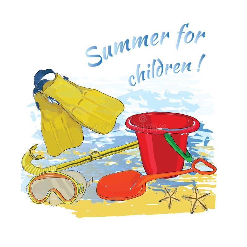 Το καλοκαίρι υποβάθρου με την εγγραφή, σφαίρα, μάσκα, κολυμπά με αναπνευτήρα, πτερύγια απεικόνιση αποθεμάτων