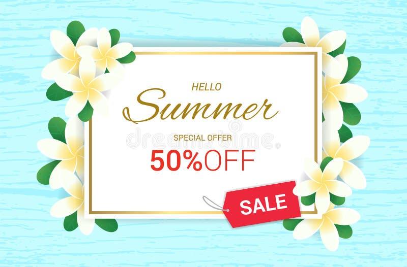Το καλοκαίρι Plumeria ανθίζει το πλαίσιο ή το καλοκαίρι floral απεικόνιση αποθεμάτων