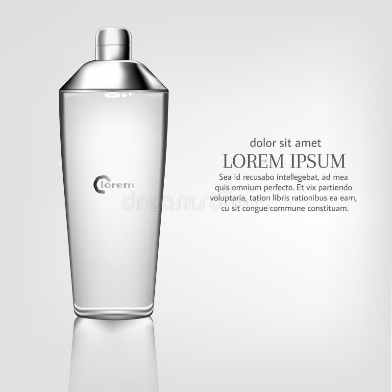 Το καλλυντικό προϊόν αφισών, διαφανές σχέδιο συσκευασίας μπουκαλιών με μια ενυδάτωση αποβουτυρώνει ή υγρό, άσπρο υπόβαθρο διανυσματική απεικόνιση