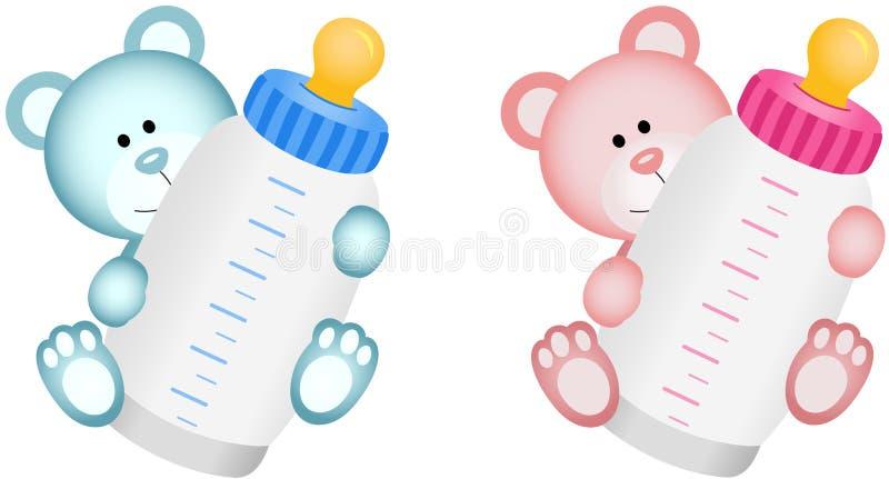 Το καλό μωρό Teddy αντέχει με το μπουκάλι μωρών διανυσματική απεικόνιση