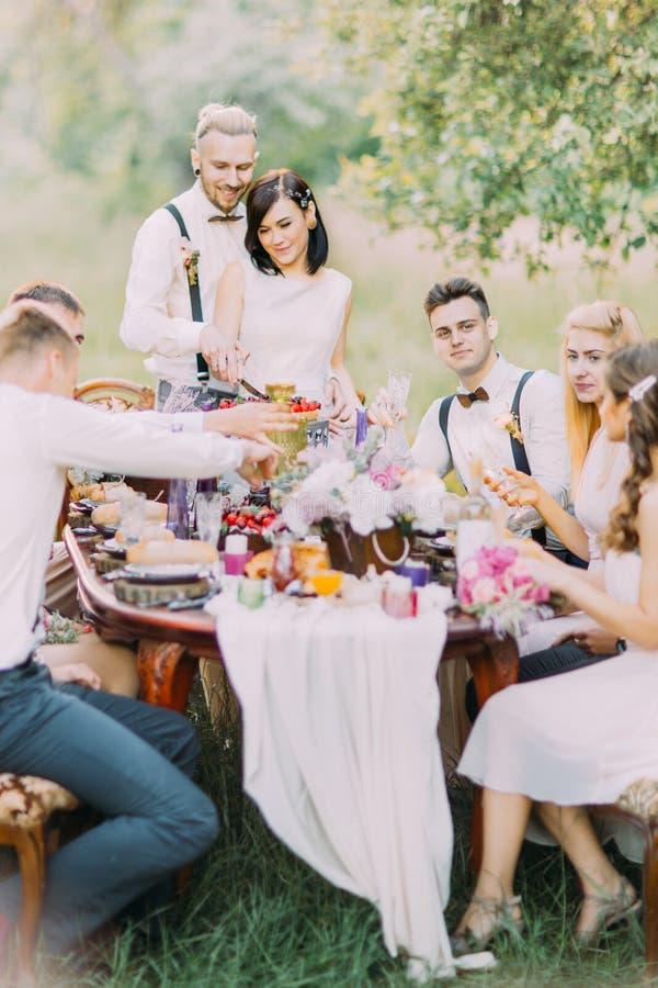 Το καλό πορτρέτο των newlyweds που κόβουν το γάμο τους συσσωματώνει και οι φιλοξενούμενοί τους Ο επιτραπέζιος καθορισμός του γάμο στοκ φωτογραφίες με δικαίωμα ελεύθερης χρήσης
