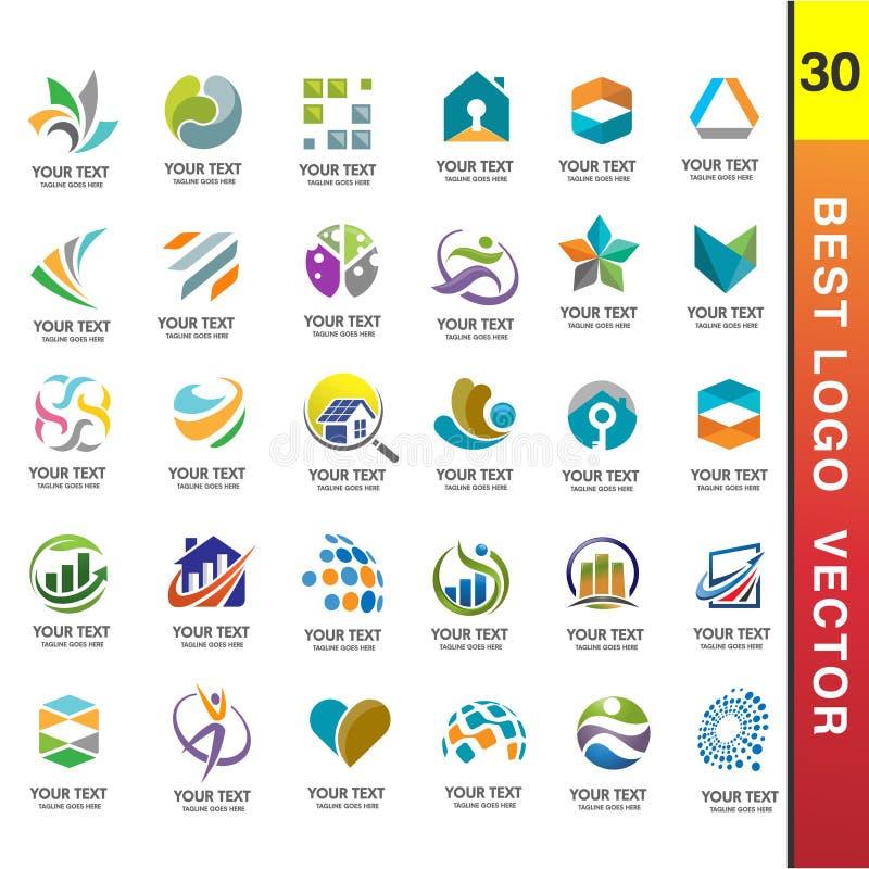 Το καλύτερο επιχειρησιακό εταιρικό λογότυπο έθεσε το διάνυσμα 30 διανυσματική απεικόνιση