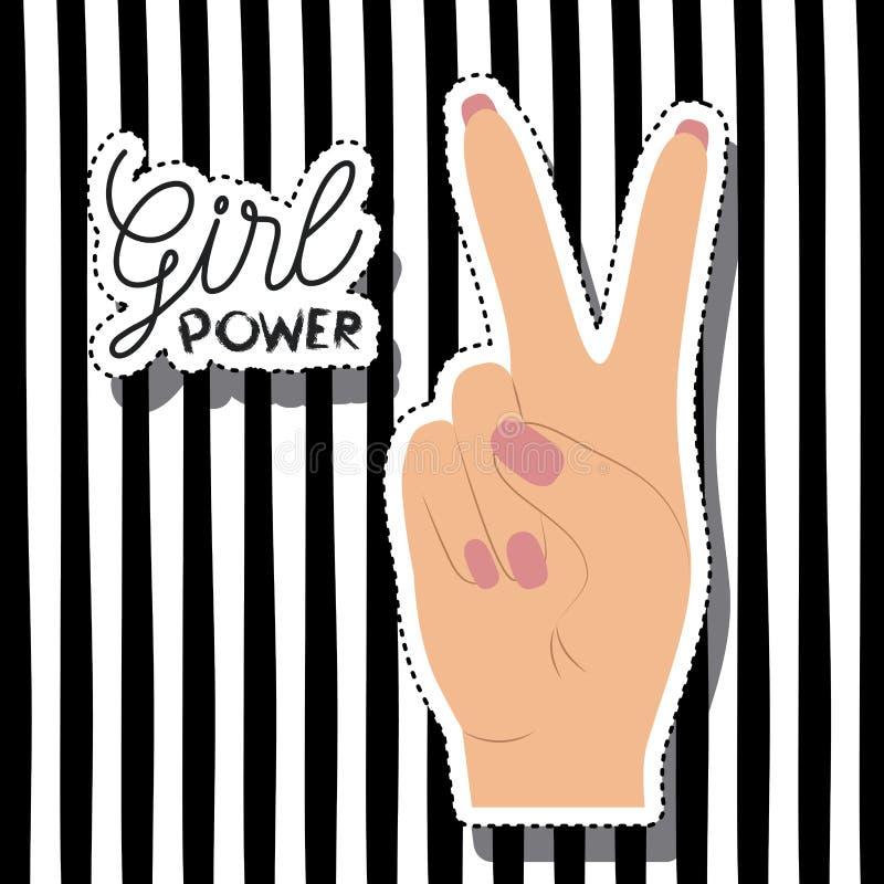 Το κείμενο αφισών δύναμης κοριτσιών και παραδίδει την αυτοκόλλητη ετικέττα χρώματος δέρματος κάνοντας το σήμα νίκης στο κάθετο ρι ελεύθερη απεικόνιση δικαιώματος