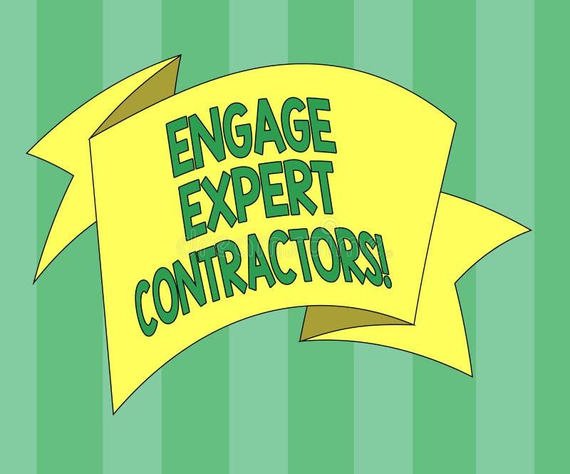 Το κείμενο γραφής δεσμεύει τους ειδικούς αναδόχους Η έννοια που σημαίνει μισθώνοντας τα ειδικευμένα outworkers λειτουργεί για μια διανυσματική απεικόνιση