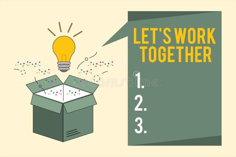 Το κείμενο γραψίματος λέξης άφησε το s είναι εργασία από κοινού Η επιχειρησιακή έννοια για Unite και ενώνει τις δυνάμεις για να ε διανυσματική απεικόνιση