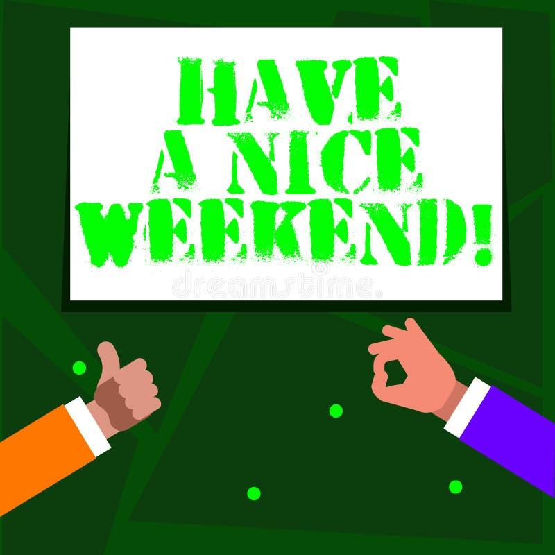 Το κείμενο γραψίματος λέξης έχει ένα Σαββατοκύριακο της Νίκαιας Επιχειρησιακή έννοια για να ευχηθεί σε κάποιο ότι κάτι συμπαθητικ διανυσματική απεικόνιση