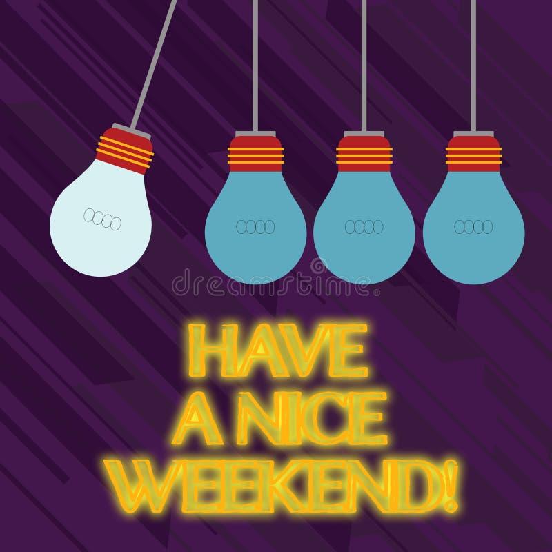 Το κείμενο γραψίματος λέξης έχει ένα Σαββατοκύριακο της Νίκαιας Επιχειρησιακή έννοια για να ευχηθεί σε κάποιο ότι κάτι συμπαθητικ απεικόνιση αποθεμάτων
