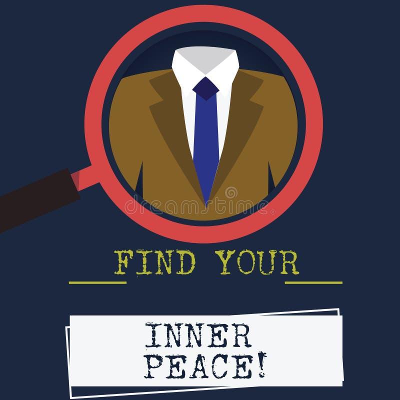 Το κείμενο γραψίματος λέξης βρίσκει την εσωτερική ειρήνη σας Επιχειρησιακή έννοια για το ειρηνικό ύφος της ενίσχυσης περισυλλογής απεικόνιση αποθεμάτων