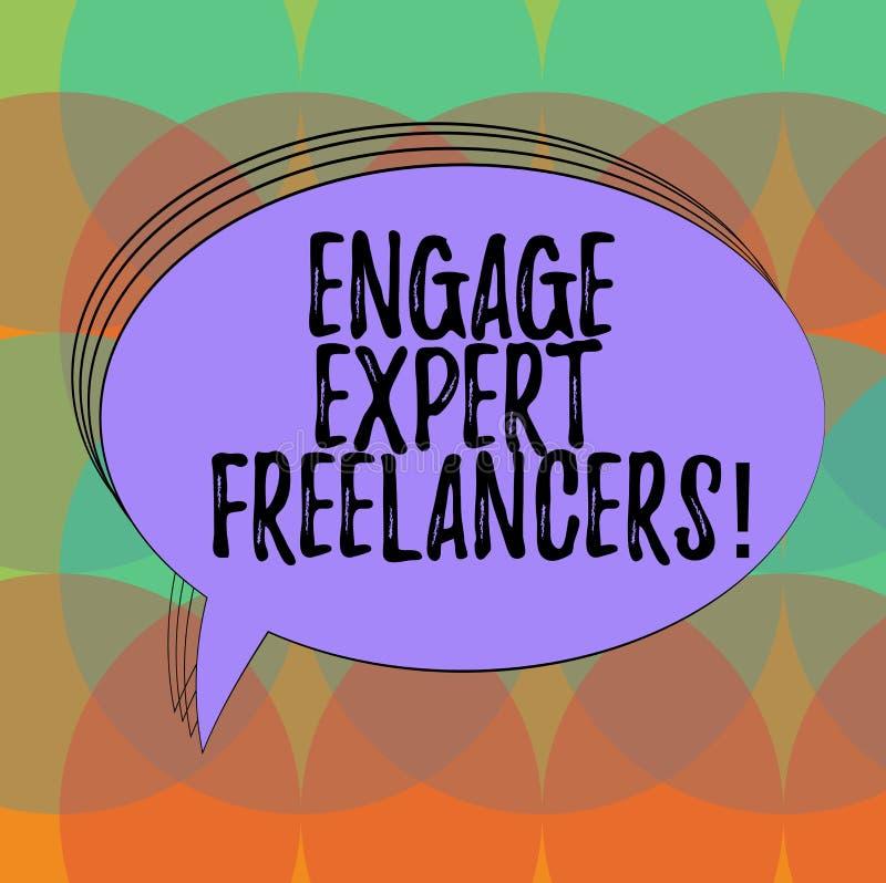 Το κείμενο γραψίματος λέξης δεσμεύει ειδικό Freelancers Η επιχειρησιακή έννοια για τη μίσθωση των ειδικευμένων αναδόχων λειτουργε διανυσματική απεικόνιση