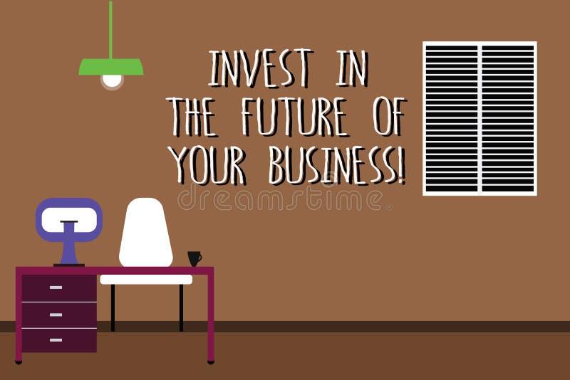 Το κείμενο γραψίματος λέξης επενδύει στο μέλλον της επιχείρησής σας Η επιχειρησιακή έννοια για κάνει τις επενδύσεις για να βελτιώ ελεύθερη απεικόνιση δικαιώματος