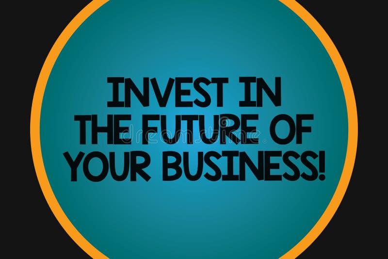 Το κείμενο γραψίματος λέξης επενδύει στο μέλλον της επιχείρησής σας Η επιχειρησιακή έννοια για κάνει τις επενδύσεις για να βελτιώ διανυσματική απεικόνιση