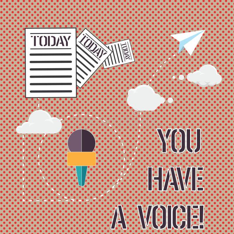 Το κείμενο γραψίματος λέξης εσείς έχει μια φωνή Η επιχειρησιακή έννοια για Speak την πάλη για τα δικαιώματά σας οι επιλογές σας μ ελεύθερη απεικόνιση δικαιώματος