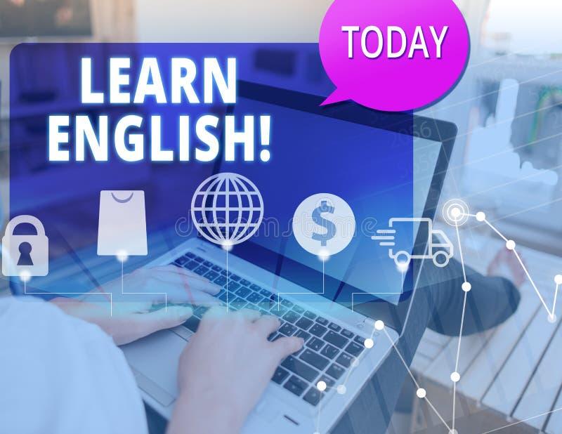 Το κείμενο γραψίματος λέξης μαθαίνει τα αγγλικά Η επιχειρησιακή έννοια για το κέρδος αποκτά τη γνώση στη νέα γλώσσα από τη μελέτη στοκ φωτογραφία με δικαίωμα ελεύθερης χρήσης