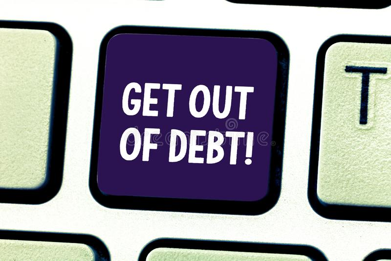 Το κείμενο γραψίματος λέξης παίρνει από το χρέος Επιχειρησιακή έννοια για καμία προοπτική να πληρωθεί άλλο και απαλλαγμένος από τ στοκ φωτογραφίες